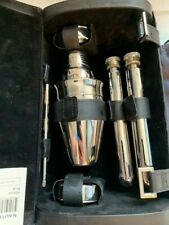 Nautica Travel Bar 6 Piece Stainless Flask Shaker Cups Set Leather Case