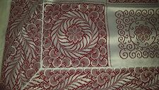 """Quaker style off white 5 1/2"""" drop floral polyester tablecloth 58"""" x 60"""" vtg"""
