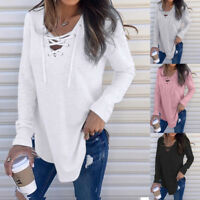 Fashion Women V Neck Strap Long Sleeve T-Shirt Tank Top Autumn Loose Blouse Lot