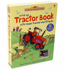 Usborne Wind-Up Tractor Book with tractor and 3 tracks (board book) NEW