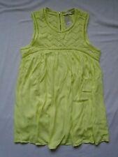 BNWT Pale Lemon sleeve-less flared summer gypsy blouse with crochet detail UK 12