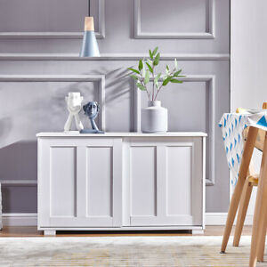 Sideboard Cupboard Display Storage Unit Cabinet with Sliding Doors White Home BN