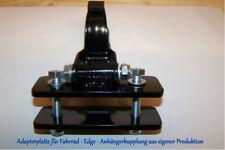 Schwarze Fahrradanhängerkupplung mit Anbauplatte + Gegenplatte 110mm breit