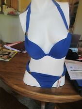 Victoria's Secret SWIMWEAR 2-Piece SOLID BLUE  Bikini Set SIZE 32B & XS