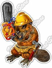 "Beaver Chainsaw Lumberjack Construction Car Bumper Vinyl Sticker Decal 4""X5"""