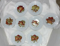 SET OF 8 HUTSCHENREUTHER GERMANY 1814 FRUIT LUNCHEON PLATES IN MINT CONDITION