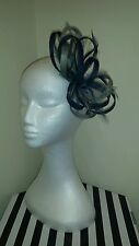 Navy and silver fascinator for wedding/races special occasion