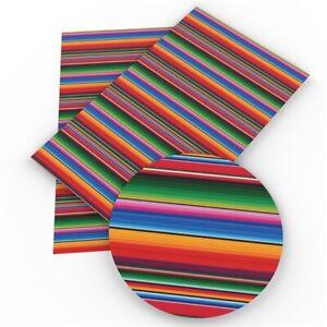 """Serape Stripes FAUX LEATHER SHEET 8"""" X 12"""" WHOLESALE PRINTED 1064669"""