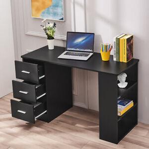 120CM Computer Desk PC Table Workstation w/3 Shelves&Drawers Black Modern Office