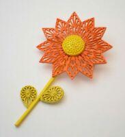 Flower Enamel Brooch pin Orange & Yellow, Vintage floral jewelry 1960s