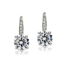 Platinum Plated 925 Silver 100 Facets Cubic Zirconia Leverback Earrings (4cttw)