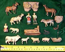 ANTIQUE GERMAN TOY CLAY FIGURES LOT~HORSES~PONY~COW~CALF~WAGON~CART~DOG~PIGS ETC