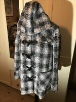 DAMART Ladies Black Ivory Check Wool Blend Hooded Toggle Jacket Size 18