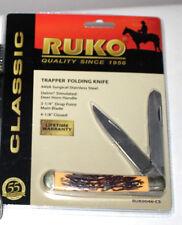 """RUKO 2-3/4"""" - 3-BLADES DELRIN DEER HORN HANDLE TRAPPER FOLDING POCKET KNIFE NIP"""