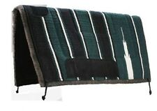 """Showman 30""""x30"""" GREEN Navajo Saddle Pad w/ Felt Bottom and Suede Wear Leathers!!"""