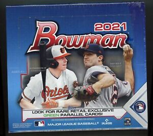 2021 Bowman Baseball SEALED RETAIL BOX 24 Packs 288 Cards Green RC FREE S&H!