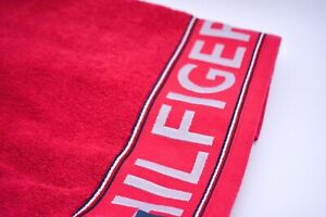 Tommy Hilfiger Bath Towel In Red Cotton Designer Logo Branded New With Tags