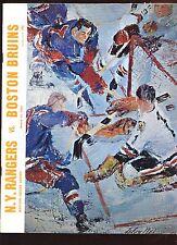 March 13 1968 NHL Hockey Program Boston Bruins at New York Rangers EXMT
