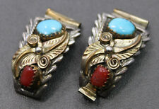 Sterling Silver Southwestern Style Turquoise Coral Gold Filled Watch Band Tips