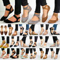 Women Ballet Ballerina Flats Ankle Strap Dolly Sandals Slip On Casual Pumps Shoe