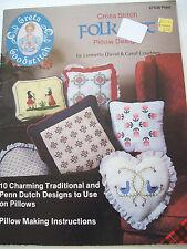 1982 Folk Art Cross Stitch Pattern Book Pillow 10 Designs Traditional Penn Dutch