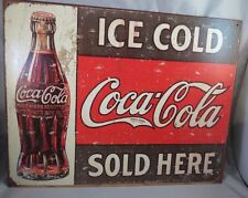 VINTAGE RETRO COKE COCA COLA SOLD HERE 1916 BOTTLE METAL TIN SIGN art repro USA