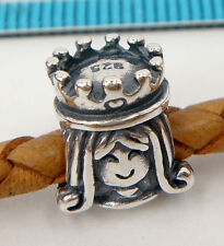 1x OXIDIZED STERLING SILVER QUEEN GIRL BEAD for EUROPEAN CHARM BRACELET #2009