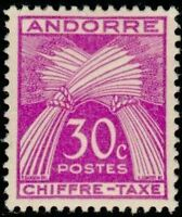 "ANDORRE FRANCAIS STAMP TIMBRE TAXE N°22 "" CHIFFRE-TAXE 30c. "" NEUF xx TTB"