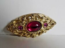 & Round Stones Wt 21.86 Gm Goldtone Metal Marquis Shaped Brooch W/ Oval