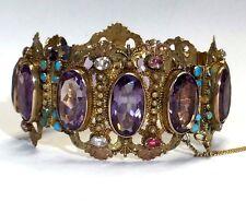 Regal Antique Victorian Amethyst 14K Gold Bracelet 58.54 grams