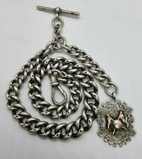 ANTIQUE Victorian silver sterling Albert HUGE chain pocket watch T bar Fob 117 g