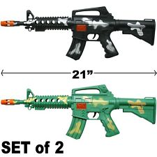 LOT OF 2 - RIFLE TOY ASSAULT MACHINE GUN TOY SOUND & SPARKS MILITARY CAR-15 M-16