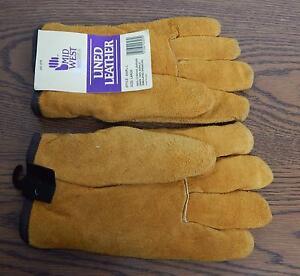 MidWest Quality Gloves Inc Pile Lined Split Leather Gloves 430PL-L Mens SZ L NWT