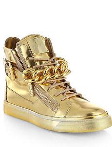 $1450 Authentic Rare GIUSEPPE ZANOTTI DESIGN Men's Glod Chain High Top Sneakers