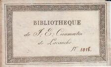 Ex-libris Jacques-Etienne CAUMARTIN (1769-1825) de Lacanche, député Côte-d'Or