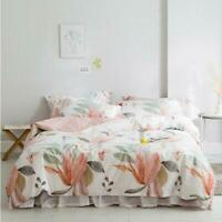 3D Pink Leaves Simple White KEP2667 Bed Pillowcases Quilt Duvet Cover Kay