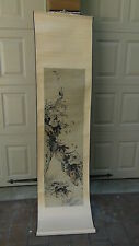 ANTIQUE 19c JAPANESE WATERCOLOR ON PAPER SCROLL PAINTING OF INSECT BUSHES&CRAB