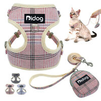 Front Clip Dog Harness Lead Mesh Padded Pet Cat Walking Vest With Treat Bag Pink