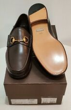 New In Box GUCCI Men's Classic Horsebit Loafers Dark Brown Leather Size 9 D