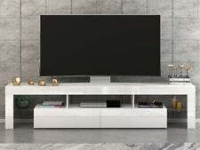 Modern Tv Unit Stand Cabinet 200cm High Gloss Front White Living Room Furniture