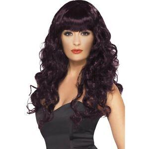 Womens Sexy Auburn Wig Long Wavy Plum Red/Brown/Purple Hair Costume Adult NEW