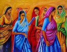 Indian Oil Painting  On Canvas, Musical, Textured, Palette Knife,women