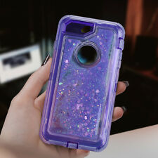For iPhone 8 7 6s Plus Glitter Liquid Bling Sparkle Protective Hybrid Case Cover