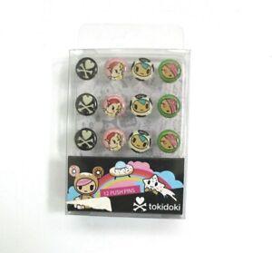 tokidoki Stationery 12-Pack Push Pins in 4 Designs Set