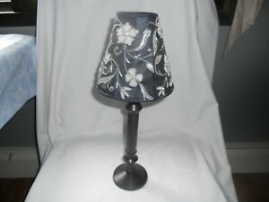 VINTAGE VOTIVE CANDLE HOLDER WITH BLUE BEADED SATIN SHADE