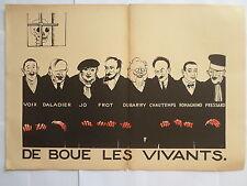 PAUL IRIBE DE BOUE LES VIVANTS 1934 GRAVURE ORIGINALE ART DECO sur bois couleurs