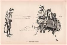 GIBSON GIRL Playing GOLF, CADDY by Charles Dana Gibson print authentic 1902
