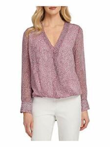 DKNY Women's Animal Print Long Sleeve V-Neck Top (Pink, XL)