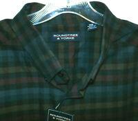 NWT Roundtree Yorke Plaid Long Sleeve Shirt Mens Big 2X