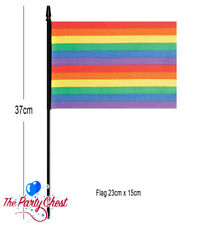 37CM RAINBOW PRIDE WAVING FLAG GAY PRIDE Colourful Party Festival Accessory 0484